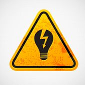 stock photo of warning-signs  - Grunge sign with the light bulb - JPG