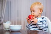 Child Eat Apple. Kid Cute Boy Sit At Table With Plate And Food. Healthy Food. Boy Cute Baby Eating B poster