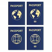 Set Of Passport Isolated On White Background. Vector Illustration. Vector Passports With Map Isolate poster