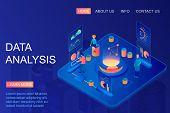 Isometric People Working With Graphs Using Data Analysis. Web Analytics And Marketing Metrics Servic poster