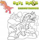 Cartoon Predatory Prehistoric Dinosaur Carnotaurus, Funny Illustration poster