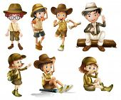 Illustration of boys and girls in safari costume on a white background