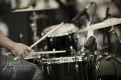foto of drum-kit  - a drummer on the rock concert - JPG