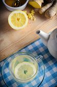 picture of home remedy  - Vertical kitchen preparation scene containing ingredients for a honey lemon and ginger drink  - JPG