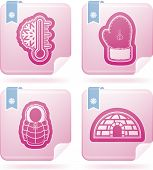 picture of igloo  - All things (objects) which are related to a winter time. Pictured here left to right top to bottom:  Temperature Winter gloves Winter jacket Igloo.  This artwork are part of the Flamingo icons set saved as an EPS v.10 file format. - JPG