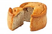 stock photo of growler  - A traditional handmade pork pie traditionally called Melton Pies from the town of Melton Mowbray in the Midlands England - JPG