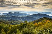 picture of asheville  - Blue Ridge Parkway National Park Sunrise Scenic Mountains Autumn Landscape near Asheville NC in western North Carolina - JPG