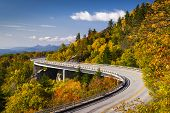 image of appalachian  - Blue Ridge Parkway Linn Cove Viaduct North Carolina Appalachian Landscape scenic travel photography in autumn - JPG