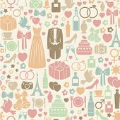 stock photo of ring-dove  - seamless pattern with colorful wedding icons - JPG