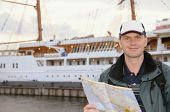 Tourist With Map In Port poster