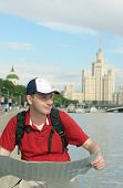 Tourist With Map In Moscow, Russia poster