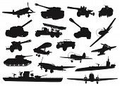 stock photo of ww2  - WW2 military silhouettes set - JPG