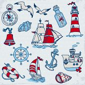 stock photo of brig  - Nautical Sea Design Elements  - JPG