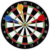 image of bullseye  - Dartboard with Darts on Bullseye Illustration Isolated on White Background - JPG