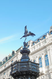 stock photo of ero  - Piccadilly Circus with statue of Anteros aka Eros in London - JPG