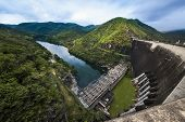 stock photo of dam  - Bhumibol hydro power plant - JPG