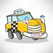 Cheerful cartoon car taxi