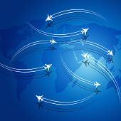 stock photo of transcontinental  - aviation background airplanes flying over the map leaving theirs shadows - JPG