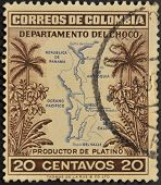 A stamp printed in Colombia shows map of the department of Choco producer of platinum
