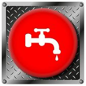 pic of spigot  - Square icon with white design on red plastic and metallic background - JPG