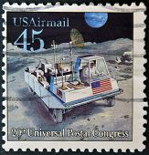 A stamp printed in USA dedicated to 20th universal postal congress shows Moon rover