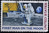 United States - Circa 1969: A Stamp Printed In Usa Shows Neil Armstrong, First Step On The Moon