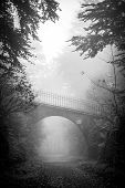 stock photo of covered bridge  - Vertical monochrome shot of a road going under the bridge in a scary fairytale - JPG