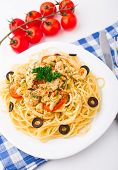 stock photo of brest  - Pasta with chicken brest on a plate - JPG