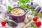 stock photo of antipasto  - Eggplant puree and fresh vegetables on a table - JPG