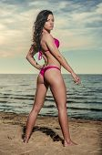 picture of string bikini  - Sexy brunette in bikini posing on the beach - JPG