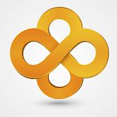 image of mobius  - Abstract double infinity orange sign isolated on white - JPG