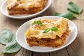 stock photo of lasagna  - lasagna bolognese - JPG