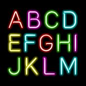 stock photo of fluorescent light  - Neon glow alphabet - JPG