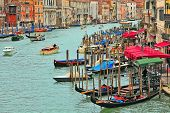VENICE - NOVEMBER 13: Grand Canal, gondolas and promenade with bars and restaurants - one of the mos