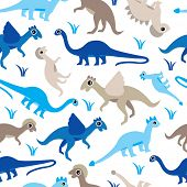 stock photo of ankylosaurus  - Seamless baby boys blue dinosaur types illustration background pattern in vector - JPG