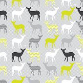 Vector seamless pattern with colorful deers