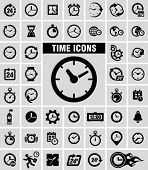 Clocks icons set on grey
