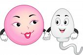 stock photo of sperm  - Mascot Illustration Featuring an Egg and Sperm Cell Holding Hands - JPG
