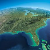 stock photo of gulf mexico  - Highly detailed planet Earth in the morning - JPG