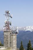 image of relay  - Television relay station placed at altitude for carrying signal over the mountains - JPG