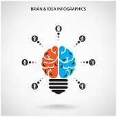foto of left brain  - Creative brain Idea concept background design - JPG