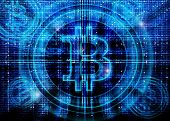 image of bitcoin  - bitcoin symbol  abstract background high quality digital illustration - JPG
