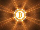 picture of bitcoin  - Bitcoin shinning in light - JPG
