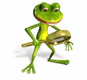 image of glass frog  - 3d illustration merry green frog with magnifying - JPG