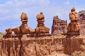 foto of hoodoo  - Three Sisters Hoodoos Goblin Valley State Park Rock Canyon San Rafael Desert Utah USA Southwest - JPG