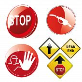 image of wane  - four different traffic signals with text silhouettes and arrows - JPG