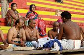 Brahmins (priests) perform puja - ritual ceremony at holy ghats,Varanasi,India