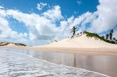 stock photo of rn  - Sand dunes with palms Pititinga Natal  - JPG