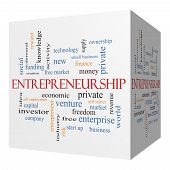 stock photo of entrepreneurship  - Entrepreneurship 3D cube Word Cloud Concept with great terms such as economic private venture and more - JPG