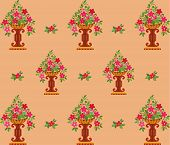 Vase pink flowers seamless (wallpaper).
